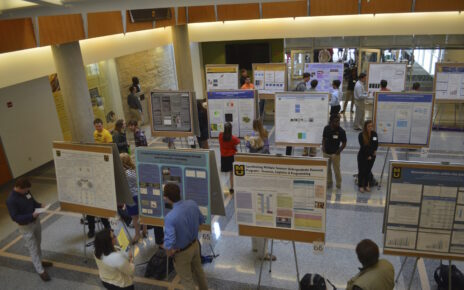 Students demonstrating their work at the Undergraduate Research Forum