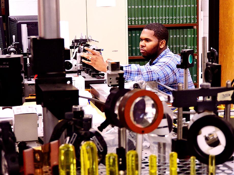 Romanus Hutchins in a lab.
